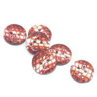 Elegant buttons in Retro pattern, Polymer clay buttons in maroon, red, orange and white, set of 6