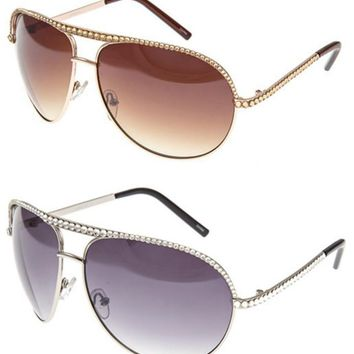 Kaytlyn Swarovski Crystal Embellished Aviator Sunglasses