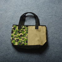 One Shoulder Canvas Print Camouflage Patchwork Tote Bag [10671929799]