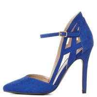 Cobalt Caged Heel Pointed Toe Pumps by Charlotte Russe
