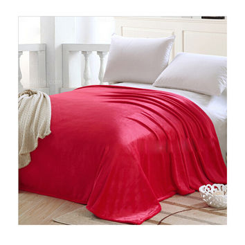 Plush Soft Queen Soild Color Micro fleece Bed Throw Blanket  Red