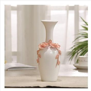 ceramic red white flowers vase home decor large floor vases for wedding decoration ceramic handicraft porcelain figurines
