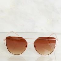 Geometric Sunglasses Rose Gold/Brown