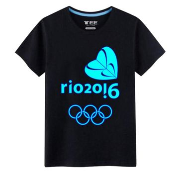 Rio 2016 Olympic Games Round Neck Tee Noctilucence -XL Black-A445