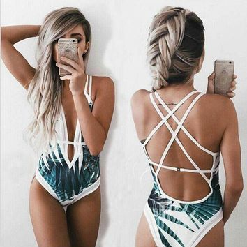 VONEHL5 Sexy Deep Plunge Tropical Palm Leaf Trikini Bathing Suit Monokini Mesh Plus Size Swimwear Women One Piece High Waist Swimsuit
