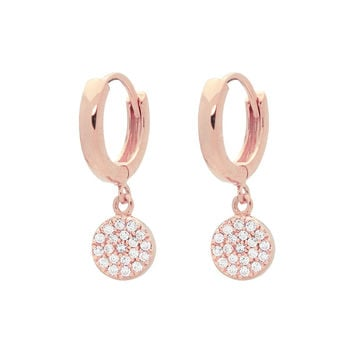 Silver Pink Rhodium Plated Huggies Earrings with 8mm Disc Hanging Pave Cz
