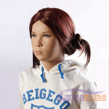 "18"" Long Curly without Bangs Synthetic Wigs for Kids Basic Cap Auburn"