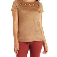 Camel Faux Suede Tee with Grommets by Charlotte Russe