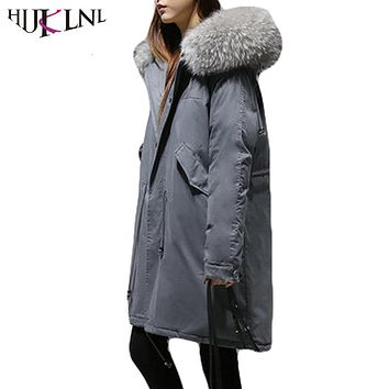 HIJKLNL New Winter Down Jackets With Hood Women Loose Down Coats 2017 Thick Long Parkas Fur Collar Fashion Warm Overcoat HB172