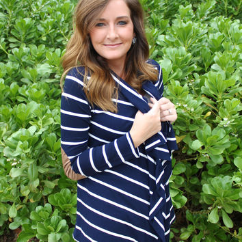 Elbow Patch Cardigan in Navy