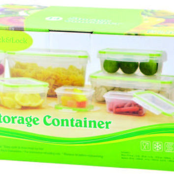 14 piece plastic container with click & lock lids Case of 6