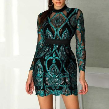 DressBird Autumn Winter Long Sleeve Dress Vestido Sexy Hollow Out Backless Sequined Lace Dress Mesh Mini Dress Woman Party Night