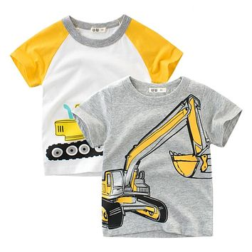 2018 Brand Summer Top Baby Boy T Shirt Excavator Embroidery Gray Short Sleeve Boys T Shirt Pure Cotton Kids Clothes 2-9Y