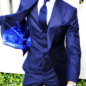 Men's Light Navy Blue Stripe 3 Piece Suit Up To 6XL(Jacket, Pants,Vest)