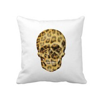 Hipster & Girly leopard print Skull Pillow from Zazzle.com