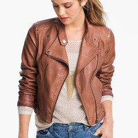 Collection B Vintage Faux Leather Biker Jacket (Juniors) | Nordstrom