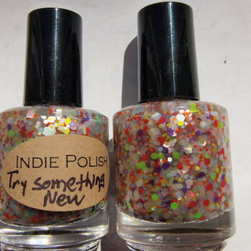 Try something NEW - Handmade Nail Polish - large bottle  - polish - neon glitter - lacquer