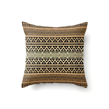 Throw Pillow Cover, tribal pillow, boho pillow, bohemian decor, hippie pillow, decorative pillow, brown pillow, tan pillow, bohemian pillow