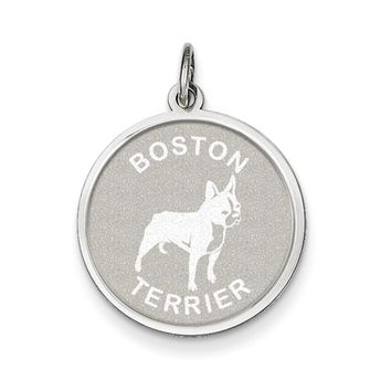Sterling Silver Laser Etched Boston Terrier Dog Pendant, 19mm
