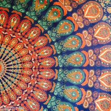 Blue Orange Peacock Mandala Tapestry
