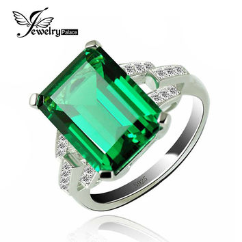 JewelryPalace Luxury 5.9ct Created Green Nano Russian Emerald Cocktail Ring 925 Sterling Silver Rings for Women Fine Jewelry