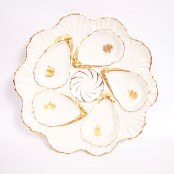 Antique Weimar Germany Ivory Porcelain Oyster Plate Gold Trim Scalloped Dish Beaded Edge 6 Wells Indentations Raised Porcelain