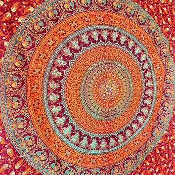 SMALL indian mandala cotton hippie wall hanging tapestry boho bohemian bedding throw ethnic elephant mandala wall decor home decorative art