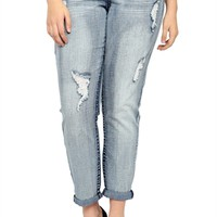 Plus Size Almost Famous Skinny Jean Medium Distressed Wash
