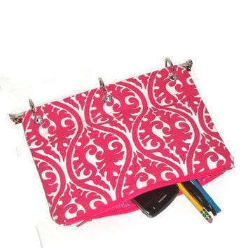 Binder Pencil Case Hot Pink for 3 Ring Binder with Zipper  School Supplies Back to School Hot Pink and White Swirl Kids Gift Organizing Case