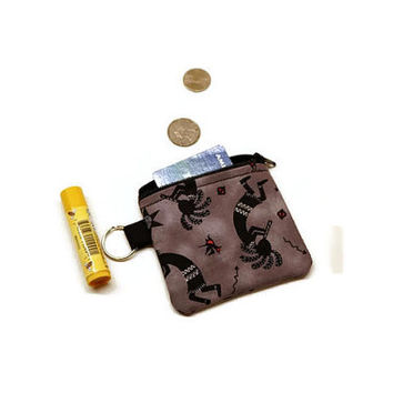 Kokopelli zippered coin purse pouch.
