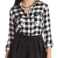 Buffalo Plaid Button-Up Top by Charlotte Russe - Black Combo