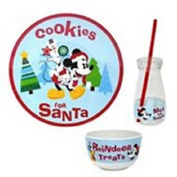 Disney Kids' Jumping Beans Mickey Mouse COOKIES FOR SANTA 3-PC Dinnerware Set