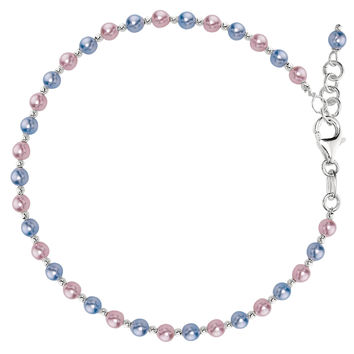 Multicolor Pearl Fancy Chain Anklet In Sterling Silver (9, 10 Length Inches)