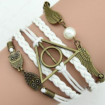 Vintage Harry potter deathly hallows wings Bangle for Women Girl Multi layer Braided Leather Bracelet