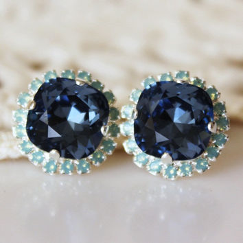 Seafoam Denim Blue... Swarovski Crystal... Cushion Cut Diamond... Opal Halo Square Rhinestone Stud Earrings... Blue and Green Earrings