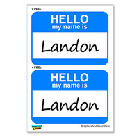 Landon Hello My Name Is - Sheet of 2 Stickers
