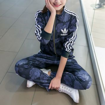 Adidas Casual Print Hoodie Top Sweater Pants Trousers Set Two-piece Sportswear Coat