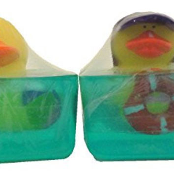Bundle 2 Items, 2 Bars of Glycerin Soap with Summer Fun Toy Ducks (Beach Time)