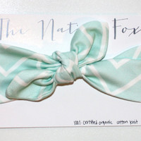 Organic Cotton Knotted Baby Headband - Mint and White