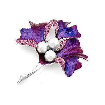 Glamorousky Leaf Brooch with Pink Austrian Element Crystal and White Fashion Pearl 4667