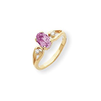 0.05 Ct  14k Yellow Gold 7x5mm Oval Pink Sapphire Diamond Ring I1 Clarity and G/I Color