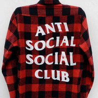 Anti Social Social Club Reworked Vintage Flannel, Anti Social Social Club Flannel shirt Buttons down Medium size