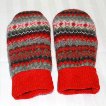 Wool Felted Mittens - Sweater Mittens - Winter Mittens - Red  - Womens Size Small - Red Mittens
