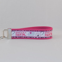 Pink, Black and White Nurse Themed Keychain Wristlet