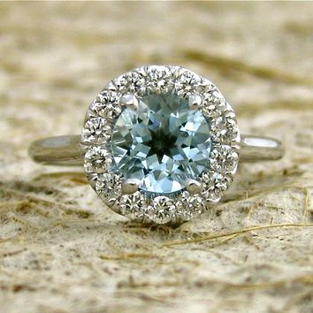 Elegant Classic Halo-Style Aquamarine & Diamond Engagement Ring in 14K White Gold