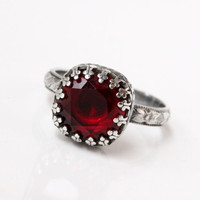 Red ring, sterling silver with Swarovski ruby cushion cut crystal in a crown setting on a floral band, vintage style, handmade, ruby ring