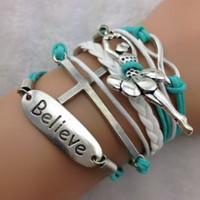Infinity Ballet Girl Cross Believe Silver Charms Leather Bracelet   Teal & White  Wax Cord Braid Leather  Fashion Jewelry  Friendship   Gift