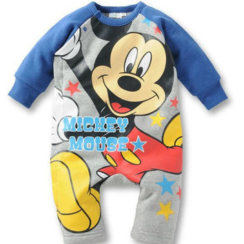 2016 autumn baby Rompers baby boy clothes Cotton Long sleeve baby girl clothes Minnie Mickey Jumpsuit Children's Fashion Romper