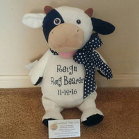 RING BEARER GIFT Personalized cow,  Stuffed Cow, Boys gifts, Baby shower, nursery room, Birthday gifts, Monogrammed gifts, Bow extra