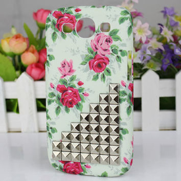 Rose Hard Shell And Silver Stud for Samsung Galaxy S3 i9300